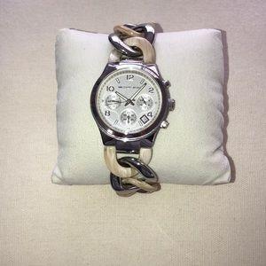 Silver and cream ceramic bracelet watch